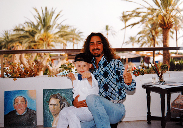 Giordano Macellari and his son Marco in Spain
